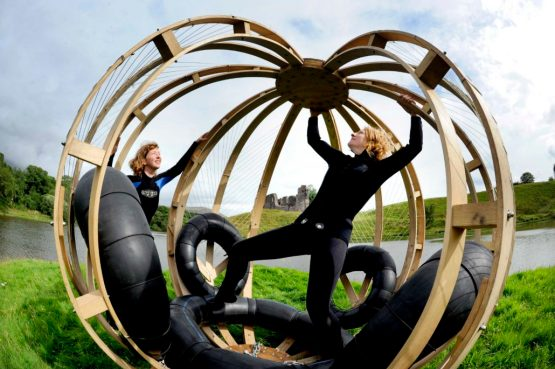 Urchin at Environmental Art Festival Scotland, Saturday 29/08/2015: Urchin, created by Jenny Hall (right) and Tabitha Pope of Craftedspace. Photography for EAFS from: Colin Hattersley Photography - colinhattersley@btinternet.com - www.colinhattersley.com - 07974 957 388