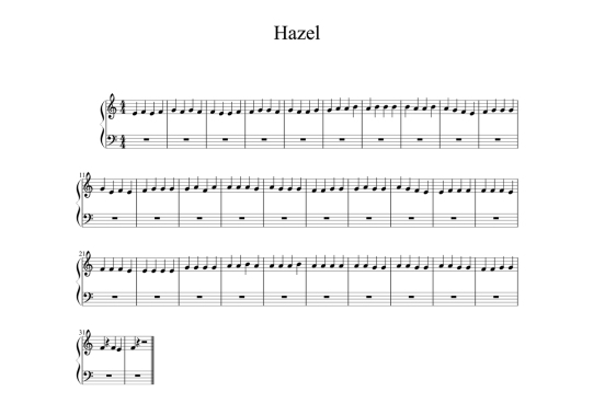 The musical score generated from data